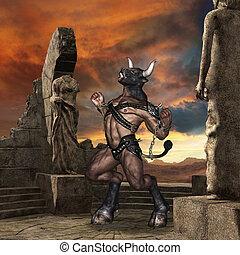 minotauro, em, ruínas,