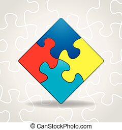 Autism Awareness Puzzle Pieces - An illustration of puzzle...