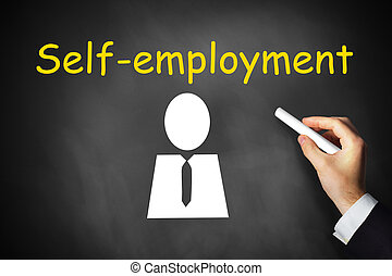 hand drawing self-employment on chalkboard - businessmans...