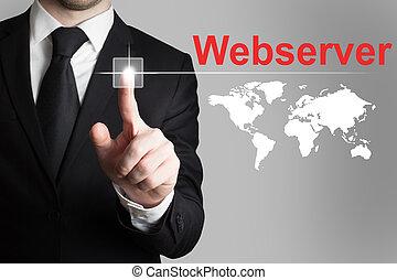 businessman pushing button webser worldmap - businessman...