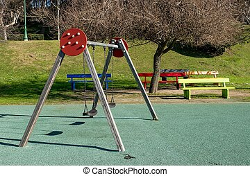 Children Park attraction, the colourful benches and swings