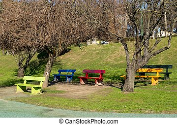 Children Park attraction, the colourful benches