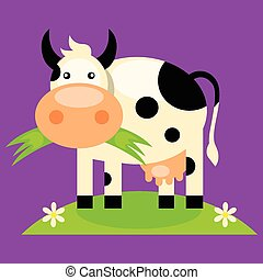 Cute baby cow cartoon - Black and white cow with bell, side...