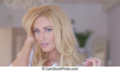 Flirt Blond Woman Looking at the Camera - Close up Flirt...