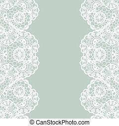 Vintage lace invitation card. - Vector white lace on...