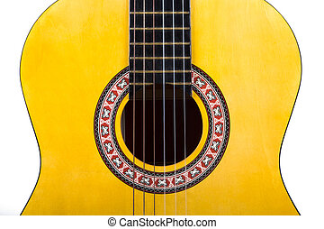 Classical Acoustic Guitar - Front view of wooden classical...