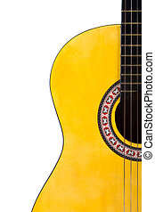 Classical Acoustic Guitar - Detail view of yellow wooden...