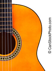 Classical Acoustic Guitar - Detail view of orange wooden...