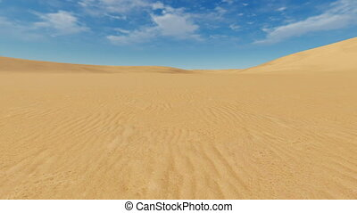 Motion backward through sandhills - Simple desert landscape....