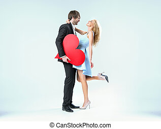 Cheerful valentine's couple in a hug
