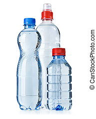 water bottles - Small plastic water bottle isolated on white...