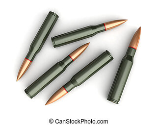 Bullets - 3d render of bullets on white backgroind