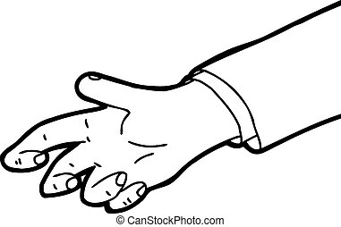 Outline of Grabbing Hand - Outline cartoon of single hand...