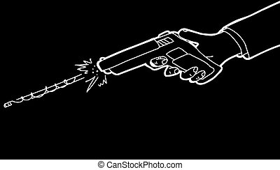 Gun Over Black Background - Cartoon of hand firing pistol...