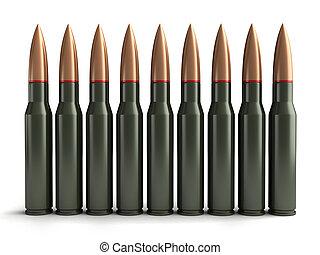Bullets - 3d render of bullets on white backgroind