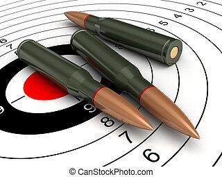Bullets - 3d render of bullets on target backgroind
