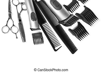 scissors and combs isolated on white background