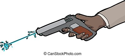 Isolated Squirt Gun - Isolated cartoon of water shooting...