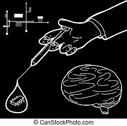 Nanotechnology Cartoon - Diagram of brain and circuits and...