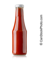 bottle of ketchup - Glass bottle of ketchup on white...