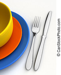 Dishware - 3d render of knife, fork and plates over white...