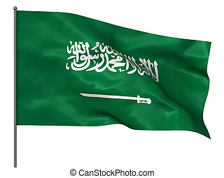 Saudi Arabia - Waving Saudi Arabia flag isolated over white...