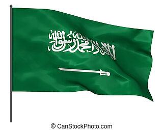 Saudi Arabia - Waving Saudi Arabia flag isolated over white...