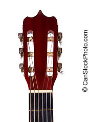Fingerboard of Classic Guitar - Front view of wooden...