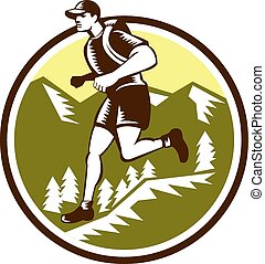 Cross Country Runner Mountains Circle Woodcut - Illustration...