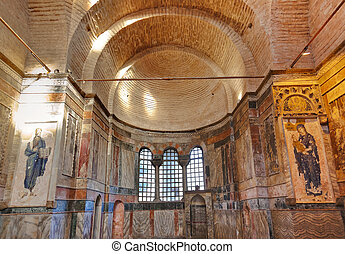 Mosaic interior in Chora church at Istanbul Turkey - Mosaic...
