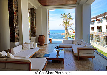 Sea view terrace at luxury hote, Crete, Greece