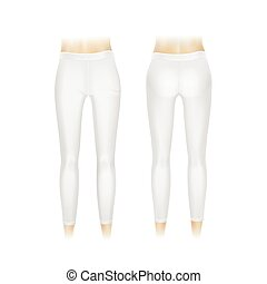 Vector White Leggings Pants Isolated on White Background