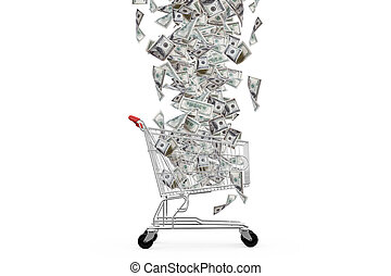 Dollar Banknotes Falling Down to Shopping Cart - One hundred...