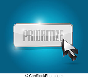 prioritize button illustration design over a blue background