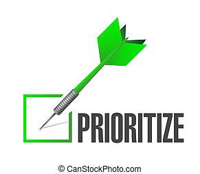 prioritize check dart illustration design over a white...