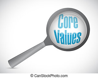 core values magnify glass illustration