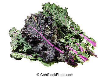 Green kale leaves isolated on white - Fresh green kale...