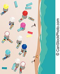 Beach - People relaxing on the beach, aerial view, vector...
