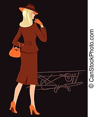 Woman on the airfield - Blond woman, elegantly dressed in...
