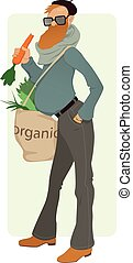 Organic Eater - Bearded man with a tote bag filled with...