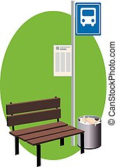 Bus stop - A bus stop with a bench, sign with a schedule and...