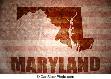 Vintage maryland map - maryland map on a vintage american...