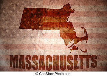 Vintage massachusetts map - massachusetts map on a vintage...