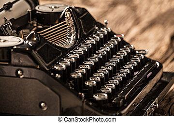 Old vintage typewriter, close-up