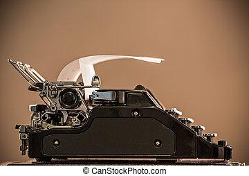 Old vintage typewriter, close-up