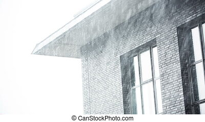 office detail with snow falling