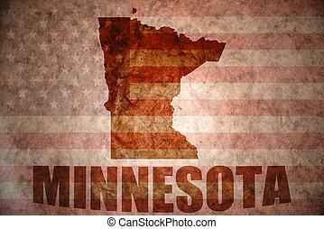 Vintage minnesota map - minnesota map on a vintage american...