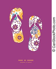 Vector colorful oriental flowers flip flops silhouettes...