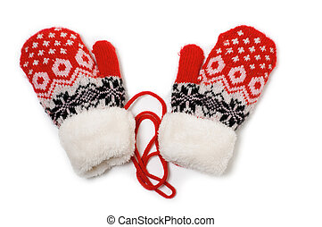 Knitted Mittens - a pair of red baby mittens with pattern on...