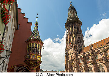 Cathedral And Merchant Hall In Freiburg - The Münster...